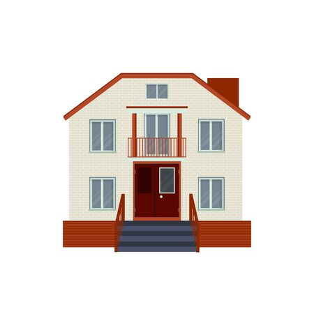 suburban street: Modern detailed house or villa front view. Contemporary real estate vector illustration. Residential building exterior isolated on white background.