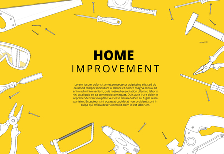 Home improvement background with repair tools. House construction layout. Renovation backdrop with carpenter instruments flat lay banner. Vector illustration. Stock Illustratie