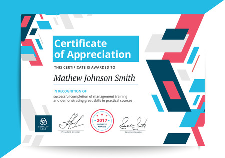 Certificate of appreciation template in modern design. Business diploma layout for training graduation or course completion. Vector background illustration. Stock Illustratie