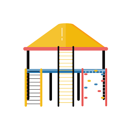Kids playground vector plastic rope ladder system in flat design