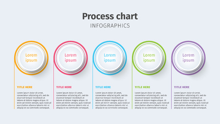 Business process chart infographics with step circles. Circular corporate timeline graphic elements. Company presentation slide template. Modern vector info graphic layout design. Ilustrace