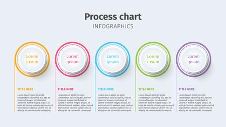 Geschäftsprozess-Diagramm Infografiken mit Schritt-Kreise. Kreisförmige grafische Elemente der Unternehmenszeitachse. Folienpräsentation für Unternehmen. Moderne Vektor-Infografik Layout-Design. Vektorgrafik