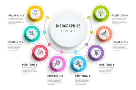 Business 8 step process chart infographics with step circles. Circular corporate graphic elements.