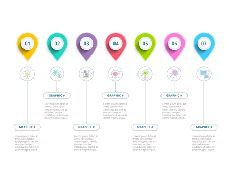 Clean minimalistic business 5 step process chart infographics with step circles. Bright corporate graphic elements. Фото со стока - 79890477