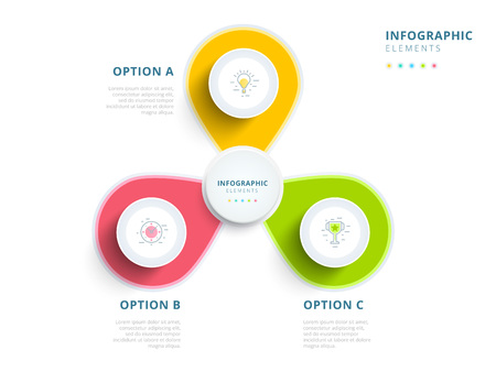 commercial event: Clean minimalistic business 3 step process chart infographics with step circles. Bright corporate graphic elements.