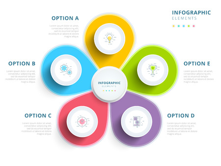 Clean minimalistic business 5 step process chart infographics with step circles. Bright corporate graphic elements.