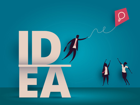 Business idea concept. Managers struggling for kite with lightbulb as metaphor for innovation or startup.