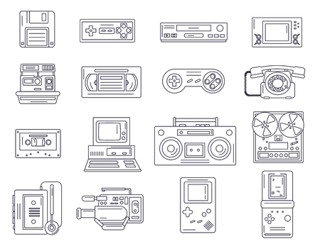Retro electronic gadgets from 90s in flat linear style. Hipster old devices from nineties.