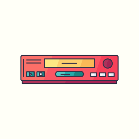 VHS vector flat linear icon. VCR hipster device symbol in bright trendy colors. Old electronic gadget from 90s. Illustration