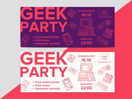Geek party poster with electronic gadgets from 90s on trendy background. Hipster night club event flyer ad layout with retro and vintage tech devices.