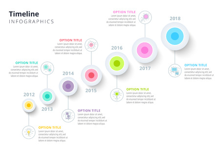 Business annual timeline in step circles infographics. Corporate milestones graphic elements. Company presentation slide template with year periods. Modern vector history time line layout design.