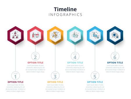 Business 6 step process chart infographics avec des cercles d'étape. Éléments graphiques d'entreprise lumineuses. Modèle de diapositive de présentation de société. Conception de disposition graphique d'informations vectorielles moderne.