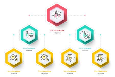 ビジネス階層 organogram グラフ インフォ グラフィック。企業の組織構造のグラフィック要素。会社組織の枝のテンプレート。現代ベクトル情報グラフ