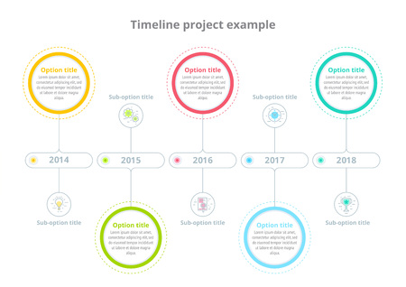 Business process chart infographics with step circles. Circular corporate timeline graphic elements. Company presentation slide template. Modern vector info graphic layout design. Stock Illustratie