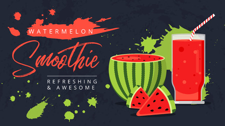 Slices of watermelon with glass of fresh juice web ad background. Juicy refreshing cocktail drink. Sweet healthy summer fruit smoothie. Organic refreshment water melon shake banner.