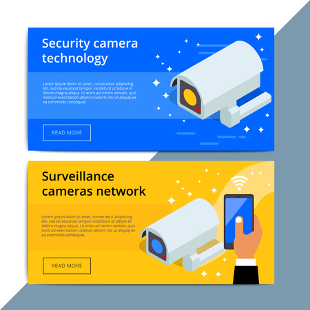 Security camera promo web banner ad. Video surveillance equipment promotion advertisement layout. CCTV device with wireless technology.