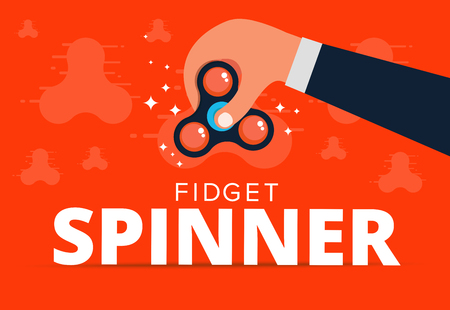mania: Fidget spinner web banner ad in flat vector design. Trendy hipster hand toy icon. Anti stress fun game of school kids. Vector illustration.