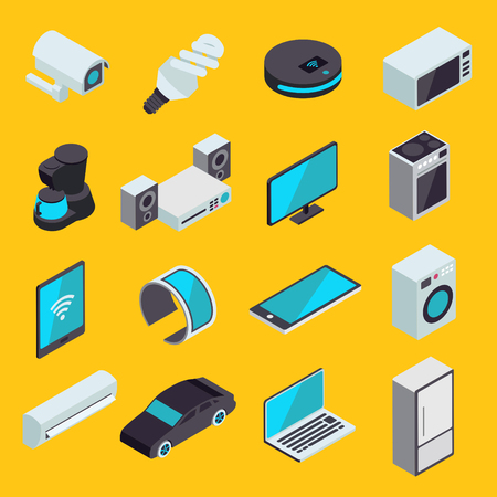 Internet of things modern set of isometric vector icons. IOT or smart home online synchronization and connection technology symbols. Wireless devices and appliances.