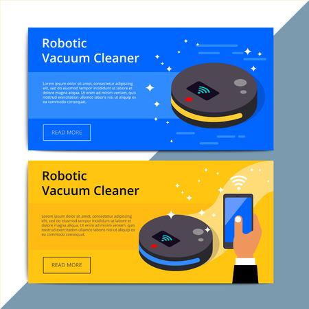 Aspirateur robotique promo web banner publicitaire. Disposition de publicité de promotion Robovac. Dispositif de robot domestique doté d'une technologie sans fil intelligente. Contexto de l'appareil IOT.