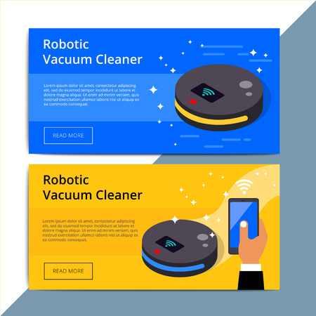 Robotic vacuum cleaner promo web banner ad. Robovac promotion advertisement layout. Domestic robot device with smart wireless technology. IOT appliance background.