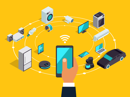 Internet of things layout. IOT online synchronization and connection via smartphone wireless technology. Smart home concept with isometric icons of home appliances.