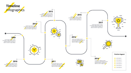Business timeline workflow infographics. Corporate milestones graphic elements. Company presentation slide template with year periods. Modern vector history time line design.