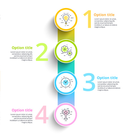 Business process chart infographics with 4 step circles. Circular corporate workflow graphic elements. Company flowchart presentation slide template. Vector info graphic design. Иллюстрация