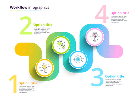 Business process chart infographics with 4 step circles. Circular corporate workflow graphic elements. Company flowchart presentation slide template. Vector info graphic design. Illustration