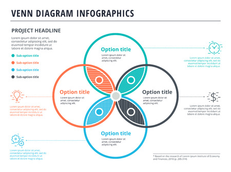 Venn diagram with 4 circles infographics template design. Vector overlapping shapes for set or logic graphic illustration. Vettoriali