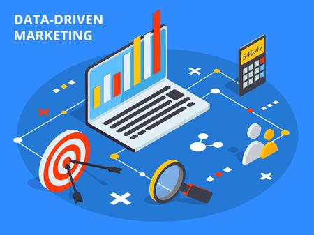 等尺性デザインでマーケティングの概念を駆動データ。ビジネス成長の分析や戦略の開発。ベクトルの図。  イラスト・ベクター素材