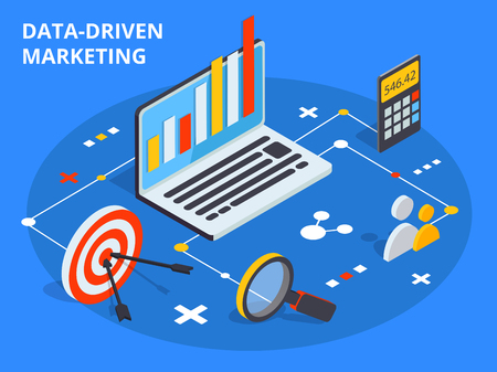 Data driven marketing concept in isometric design. Business growth analytics or strategy development. Vector illustration.