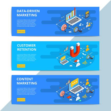 コンテンツ マーケティングの等尺性ベクター web バナー。ビジネス販売戦略とソーシャル メディア顧客研究。E コマースやオンライン ショッピング