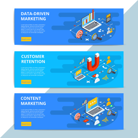 Content marketing isometric vector web banners. Business sale strategy and social media customer research. E-commerce or online shopping target search. Stock Illustratie