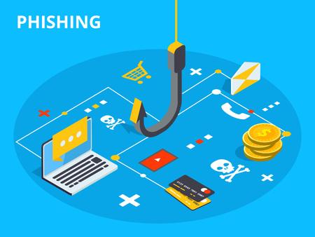 Phishing via internet isometrische vector concept illustratie. E-mail spoofing of visberichten. Hacking van een creditcard of website voor persoonlijke informatie. Cyberbank-accountaanval. Online succes. Vector Illustratie