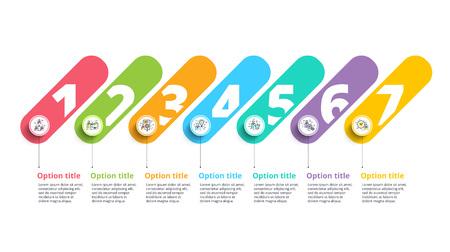 Infografía de la carta de proceso de negocio con 7 círculos de paso. Elementos gráficos circulares de flujo de trabajo corporativo. Plantilla de presentación de diagrama de flujo de la empresa. Vector de diseño gráfico de información.