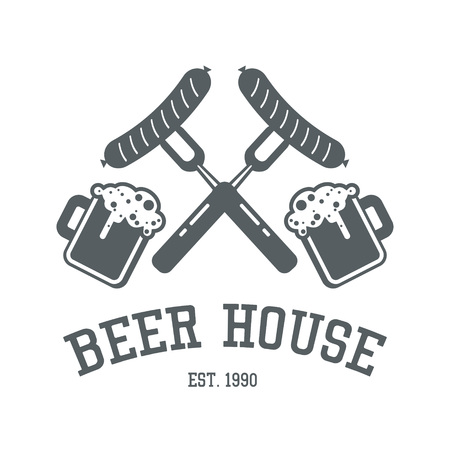 preset: Beer house logo design in monochrome colors. Bar or pub label template with forks and sausages and mugs full of ale. Snack restaurant symbol preset. Steak cafe tag or badge layout.