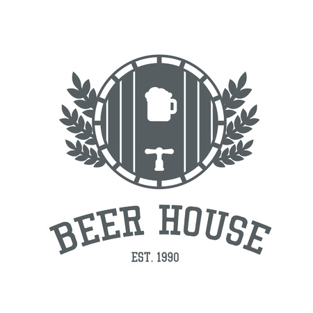 preset: Beer house logo design in monochrome colors. Bar or pub label template with ale barrel and wheat. Snack restaurant symbol preset. Steak cafe tag or badge layout. Illustration