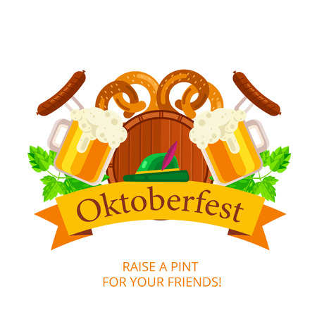 Oktoberfest vector background design. Octoberfest holiday banner layout. Greeting letter or postcard element with traditional bavarian pattern symbols. Party or event headline template with text. Illustration