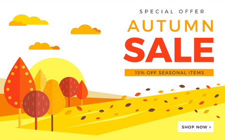 Sale promotion web banner with autumn . Promo fall season discount layout with rural landscape. seasonal discount template design.