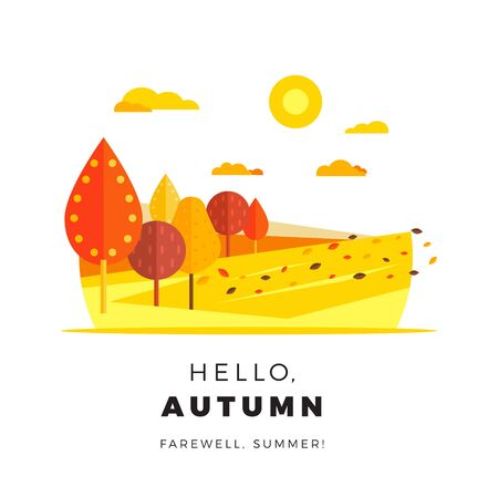 Hello autumn promotion web banner with greeting text. Promo fall season discount layout with rural landscape seasonal discount template design. Illustration