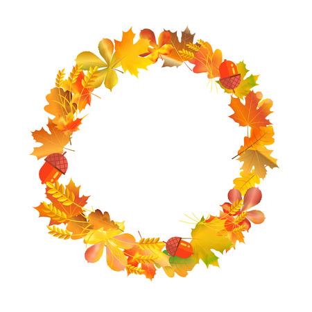 Wreath circle frame made of autumn leaves, wheat and acorns. Fall season template design. Harvest theme border layout.