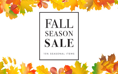 Sale promotion web banner with autumn . Promo fall season discount layout with floral ornament seasonal discount template design.