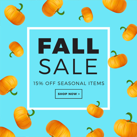Sale promotion web banner with autumn . Promo fall season discount layout with pumpkin pattern seasonal discount template design.