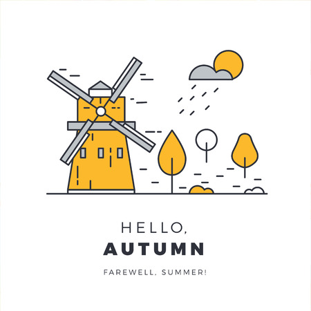 Hello autumn promotion web banner with rural landscape. Promo fall season quote layout with windmill and meadow. seasonal template design. Illustration