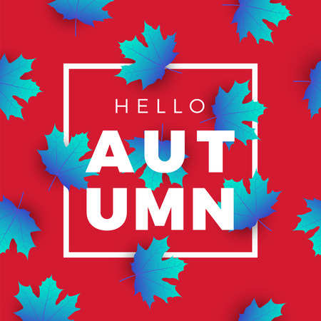 Hello autumn promotion web banner with floral pattern. Promo fall season quote layout with maple leaves and text. seasonal template design. Illustration