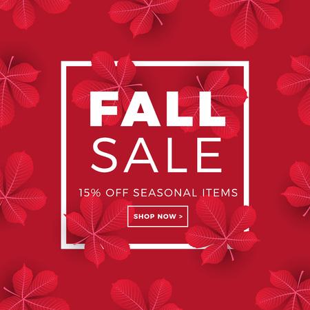 Bannière web de promotion vente avec l'automne. Promo mise en page de réduction saison automne avec motif de feuilles de châtaignier. conception de modèle de réduction saisonnière. Vecteurs