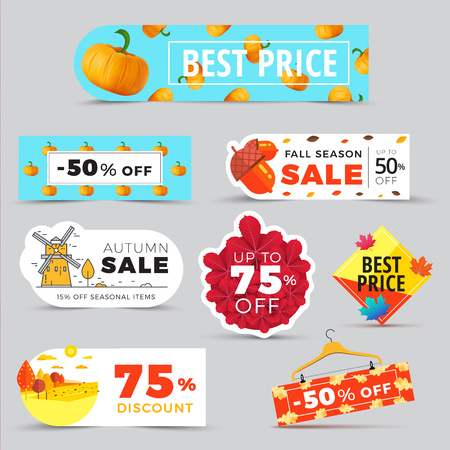 Sale promotion web banners with autumn . Promo fall season discount label or tag layouts with patterns and rural landscapes. seasonal discount sticker templates design.