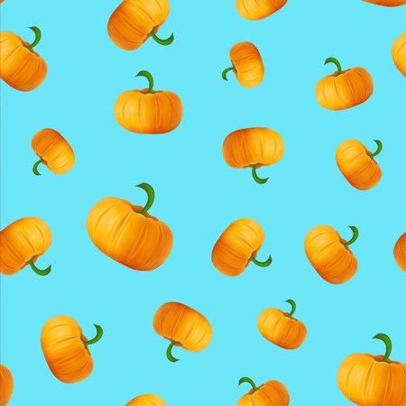 Pattern with pumpkins on blue . Autumn or fall season repeating print layout. seasonal texture design for thanksgiving or harvest festival.
