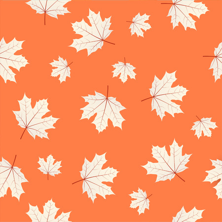 Pattern with maple leaves on orange . Autumn or fall season repeating print layout. seasonal texture design for thanksgiving or harvest festival.