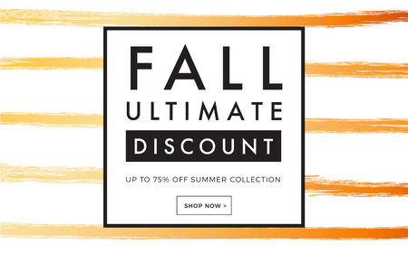Sale promotion web banner with luxury hand-drawn autumn . Promo fall season discount layout with fashionable brush strokes pattern. seasonal discount template design.